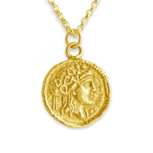 Athena Greek Goddess Ancient COIN 925 Sterling Silver 14 K Gold Plated Necklace