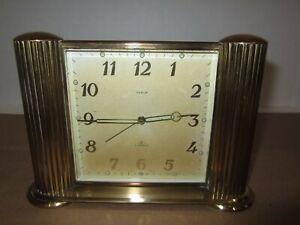 Semca Swiis Made Wind up Time & Alarm Brass Clock 8-Day, 7 Jewels