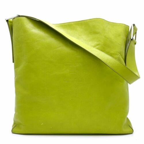 Authentic HIROFU One Shoulder Bag Leather Lime Gre