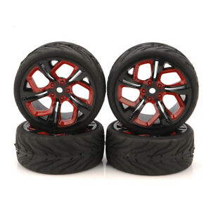 4Pcs-12mm-Hex-Flat-Tire-Llantas-De-Goma-Para-HSP-HPI-1-10-de-Carretera-RC-coche-de-carreras