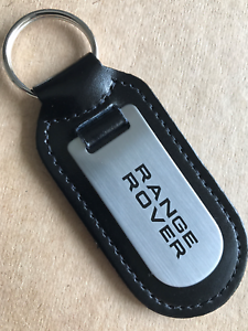 Clever Range Rover Black Printed Black Leather Key Ring Fob Velour Evoque Sport? Keyrings & Keyfobs Automobilia