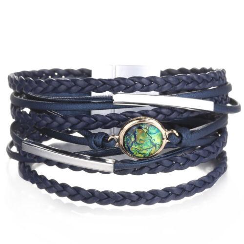 Women Alloy Tube Crystal Stars Multi-layer Leather Bangle Wrap Bracelets Jewelry