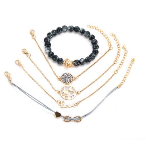 5Pcs//Set Women Crystal Gold Map Bracelet Love Bangles Adjustable Fashion Jewelry