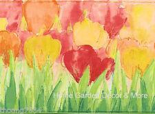 White Green Tulip Flower Wallpaper Border 30418 SG