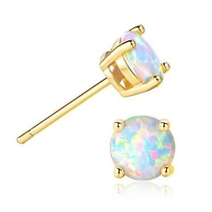 Women-925-Sterling-Silver-Stud-Earrings-Round-Cut-Fire-Opal-Jewelry