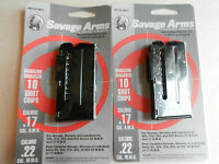 Lot Of 2 Savage Factory Magazines; Holds 10 Rounds Of 17 Hmr Or 22 Mag; 90010