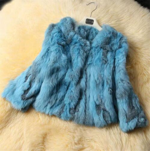 Frauen Damen 100/% Echte Kaninchenfell Kurzmantel Jacke Chic Serie Outwear Mantel