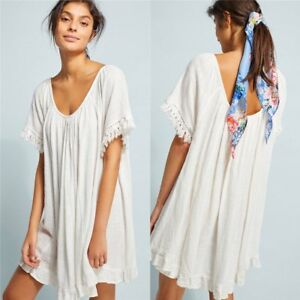 Womens-Summer-Bikini-Cover-Up-Kaftan-Beachwear-Swimwear-Beach-Short-Mini-Dress
