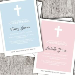Personalised Invitations • Christening ~ Baptism ~ Naming Day • Girl/Boy DD3