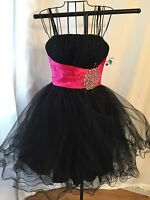 Chicas Formal Black Size Xs Tulle Short Prom Dress Ball Gown With Hot Pink Sash