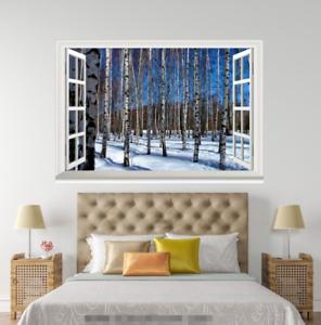 3D Snow Trees 4567 Open Windows WallPaper Murals Wall Print Decal Deco AJ Summer