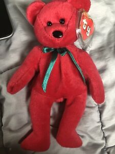 a73dd19d1b3 TY RARE New Face (NF) Cranberry Teddy Beanie Baby 2nd Gen Hang 1st ...