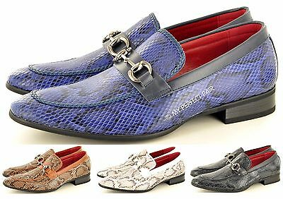 Motiviert Mens Leather Lined Snake Skin Pattern Pointed Winkle Pickers Patent Shiny Shoes
