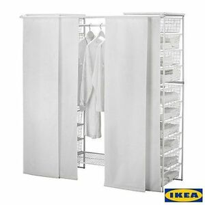 Nip ikea antonius 4 panel curtain rails w rod in white for Ikea curtain rods uk