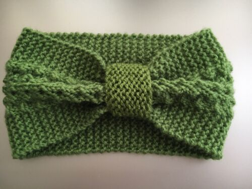Hand Knitted Green Girls Ear Warmer Head Forehead Band New!!
