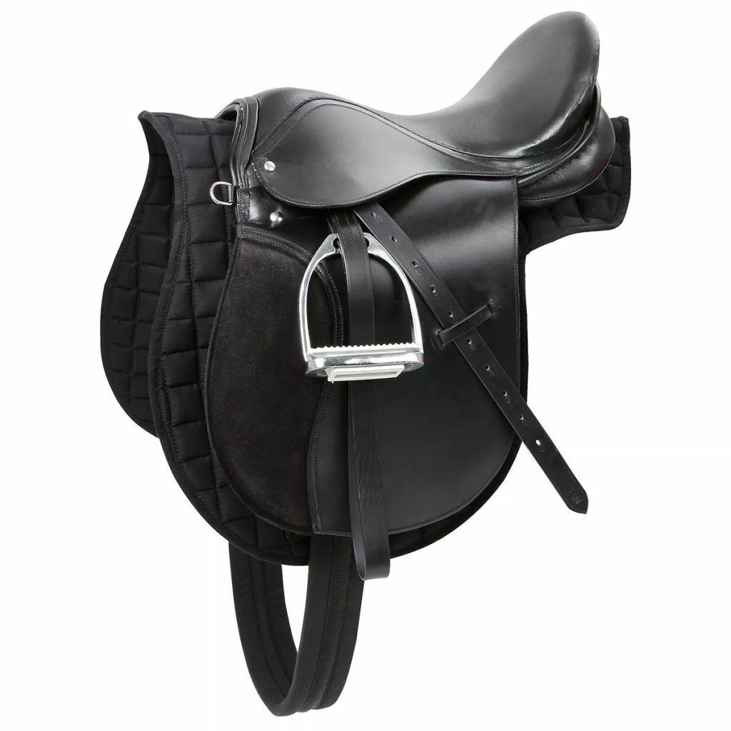 Kerbl Set Sella Cavallo Equitazione Inglese Completa In Pelle Nera 32197