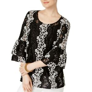 ALFANI-NEW-Women-039-s-Black-Bell-sleeve-Floral-Lace-Blouse-Shirt-Top-TEDO