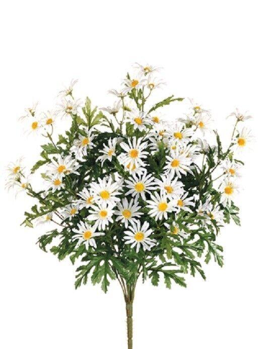 12 Artificial 24  Farmhouse Daisy Bush Weiß Silk Flower Bouquet Wedding Decor