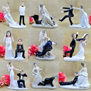Funny Wedding Cake Toppers Figurine Bride Groom Humor Favors Unique