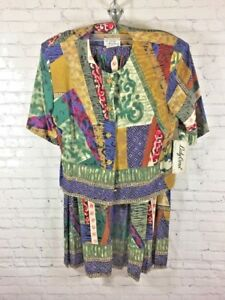 Vtg-Lady-Carol-of-New-York-Women-Top-amp-Skirt-2-Piece-Outfit-Size-14-Deadstock