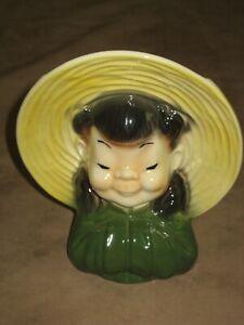 Royal-Copley-Wall-Pocket-Oriental-Girl-Planter-Vase-Head-Vase-Vintage-Crazing