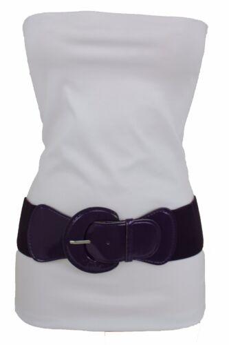 New Women Casual Look Elastic Waistband Trendy Wide Belt Dark Purple Size M L XL
