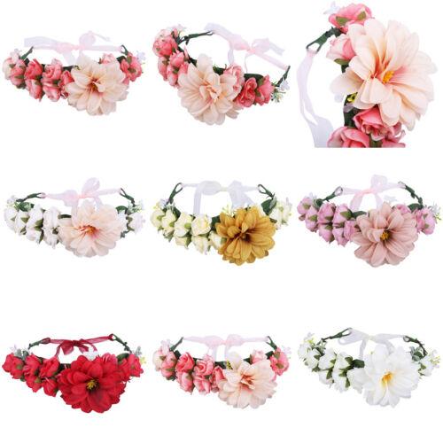 Women Flower Crown Headband Floral Wreath Hairband Hair Accessories Boho Wedding