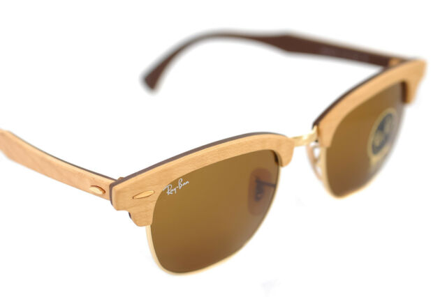 03e288b747 Ray-Ban CLUBMASTER WOOD RB3016M 1179 51mm Mens Sunglasses MAPLE LIGHT BROWN  GOLD