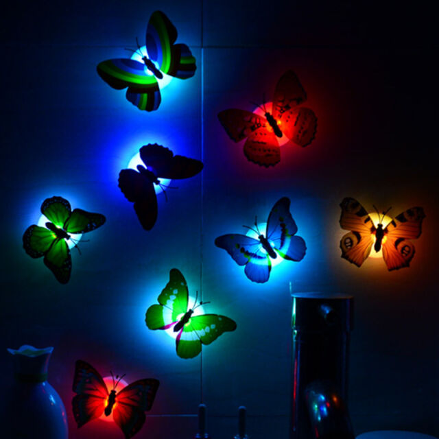 1pc Farbe 7 Schmetterling Netter LED-Nachtlicht-Hauptraum-Desk-Wand-Dekor .