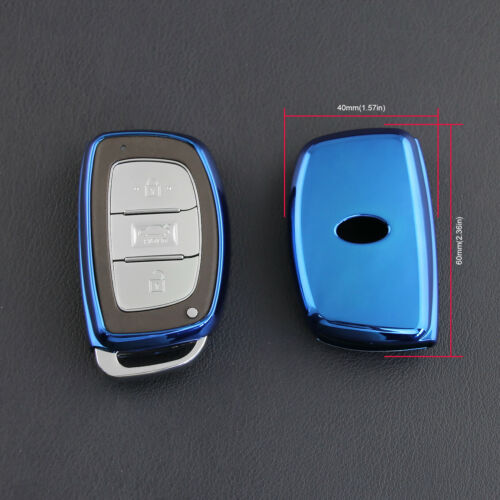 For Hyundai Blue TPU Key Case Soft Shell Cover Accessories Sonata Tucson Elantra