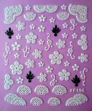 3D Nail Art Sticker White/Black Glitter Lace Snowflake Floral Christmas Tree 196