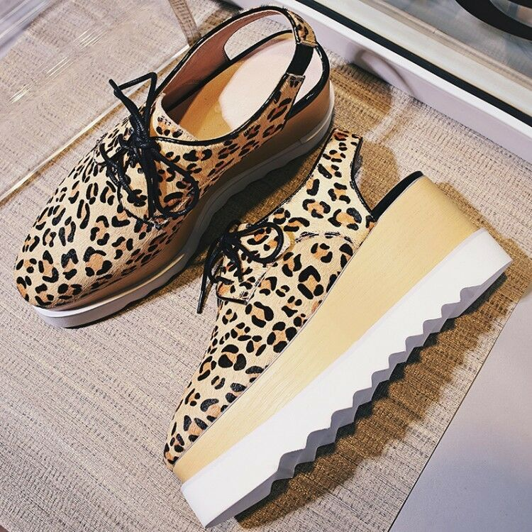 Donna Fashion Sexy Leopard Lace Up Oxfords Wedge Heels Platform scarpe Creeper