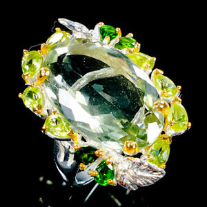 Handmade30ct-Natural-Green-Amethyst-925-Sterling-Silver-Ring-Size-8-R107574