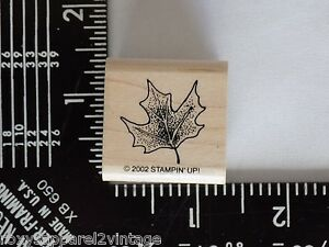 Maple-Leaf-Wood-Mounted-Rubber-Stamp-Gently-Used-2002-Stampin-039-Up-Stampin-Up