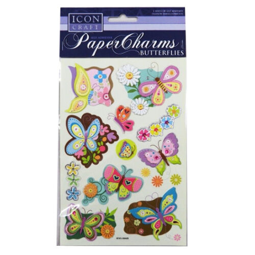 Butterflies or Birthday Self Adhesive Embellishments Icon Craft Paper Charms