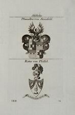 1824 Wappen Adelige Pfaundler von Sternfeld von Pfeffel Kupfer von Tyroff