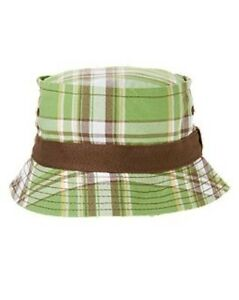 5c1fa99e599 NWT Gymboree Island Hoppers Plaid Bucket Hat Sun Hat NEW Palm Green ...