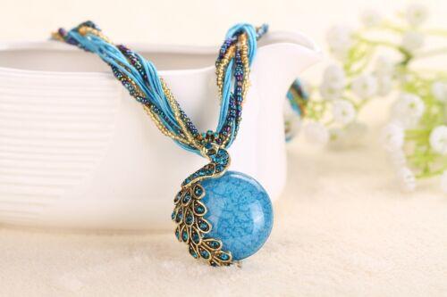 Fashion Lady Retro Crystal Rhinestone Pendant Necklace Gemstone Beads Jewelry