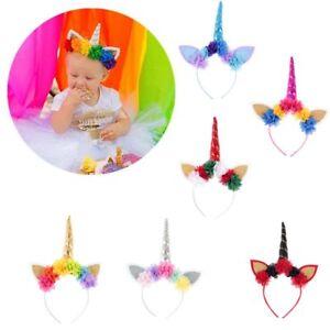 Cosplay-Costume-Flower-Hair-Hoop-Baby-Hairband-Rainbow-Unicorn-Cat-Ear-Headband