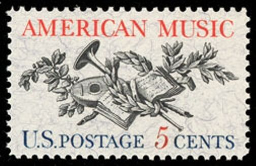 1964 5c American Music, Lute, Horn, Laurel, Oak Scott 1