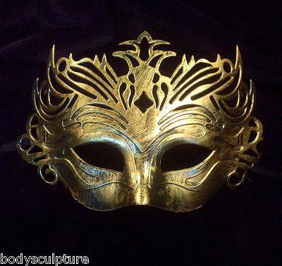 Masquerade party masks, masked ball mask, Men's sexy Gold Venetian Gladiator