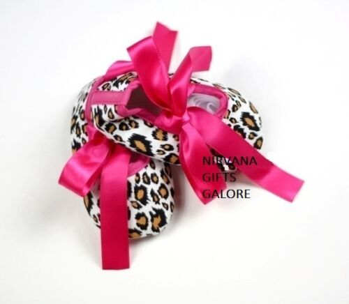 LEOPARD PRINT /& HOT PINK RIBBON BABY CRIB SHOE SIZE GUIDE IN LISTING