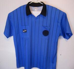 100% Vrai Official Sports Football Arbitre Jersey Homme Taille Xl Bleu à Rayures à Manches Courtes-afficher Le Titre D'origine Remises Vente