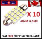 10 X Festoon Xenon WHITE 41mm LED Dome Light Bulb 12 SMD LED chips Interior 3528