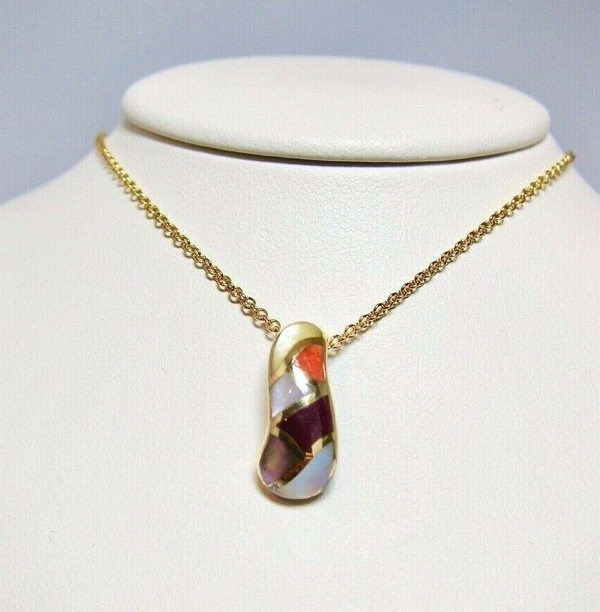 Asch Grossbardt 14k Yellow gold Pendant Pearl Multicolor Gem Inlay NEW  P566SP