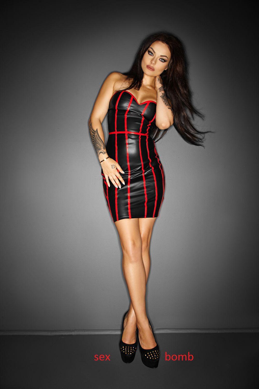SEXY abito CORSETTO schwarz rot vestito WETLOOK S,M,L (40,42,44) GLAMOUR