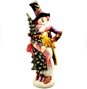 Vintage-Ceramic-Hand-Painted-Christmas-Snowman-in-Pink-and-Purple-Unique-14-5-034-T