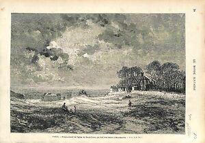 Montmartre-Emplacement-de-Basilique-du-Sacre-Coeur-PARIS-FRANCE-GRAVURE-1874