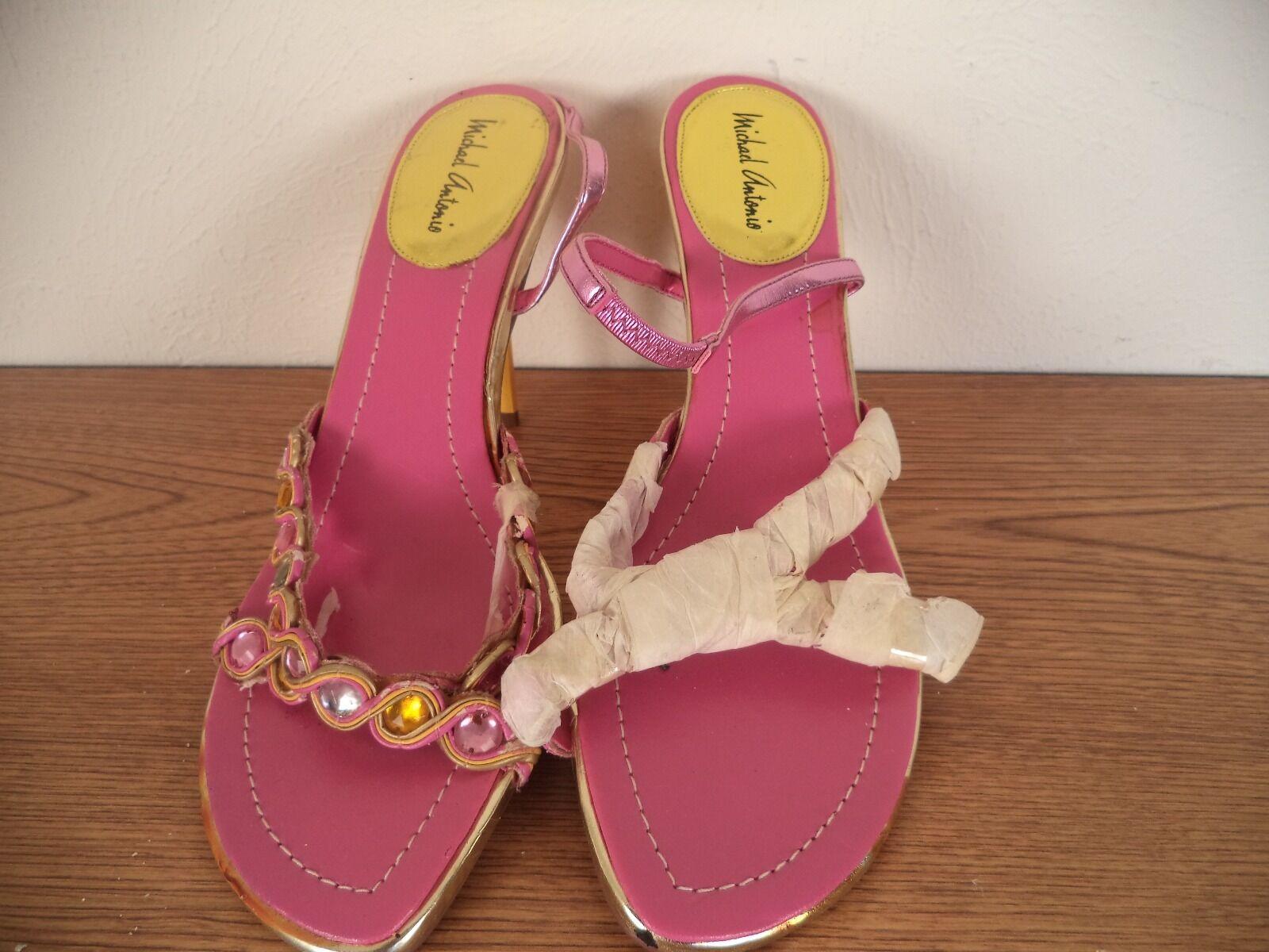 Womens Shoe. Michael Open Antonio. Multi Color. Size 8. Heels. Open Michael Toe. Leather. e8eb05