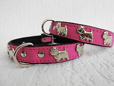 *WESTIE* Hundehalsband, LEDER, Halsumfang 37-41cm, PINK, NEU(PL.20-5-2-52)